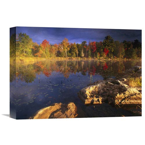 Global Gallery Lang Lake, Fall Colors, Ontario, Canada By Tim Fitzharris, 12 X 16-Inch Wall Art