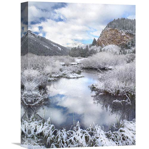 Global Gallery Boulder Mountains And Summit Creek Dusted With Snow, Idaho By Tim Fitzharris, 16 X 12-Inch Wall Art