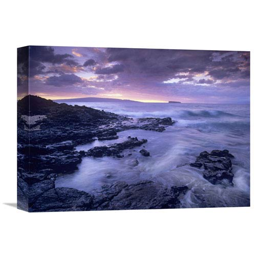 Global Gallery Ocean Surf Crashing On Lava Rocks At Molokini Crater, Maui, Hawaii By Tim Fitzharris, 12 X 16-Inch Wall Art