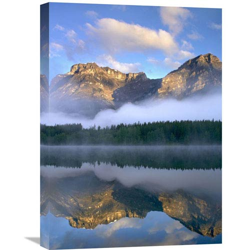 Global Gallery Morning Light On Mt Kidd As Seen From Wedge Pond, Alberta, Canada By Tim Fitzharris, 24 X 18-Inch Wall Art