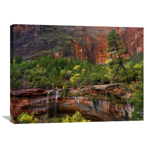 Global Gallery Waterfalls At Emerald Pools, Zion National Park, Utah By Tim Fitzharris, 24 X 32-Inch Wall Art