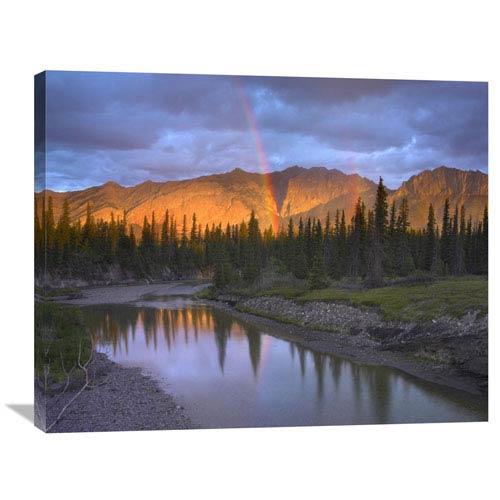 Global Gallery Rainbow Over Fairholme Range And Exshaw Creek, Alberta, Canada By Tim Fitzharris, 28 X 35-Inch Wall Art