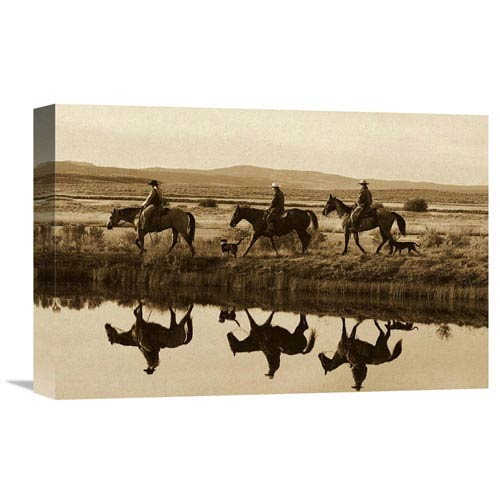Global Gallery Cowboys And A Cowgirl Riding Horses Beside Pond, Oregon By Konrad Wothe, 12 X 18-Inch Wall Art
