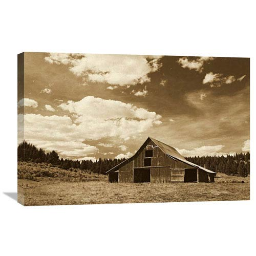 Global Gallery Old Red Barn In Pastoral Landscape, Oregon By Konrad Wothe, 20 X 30-Inch Wall Art