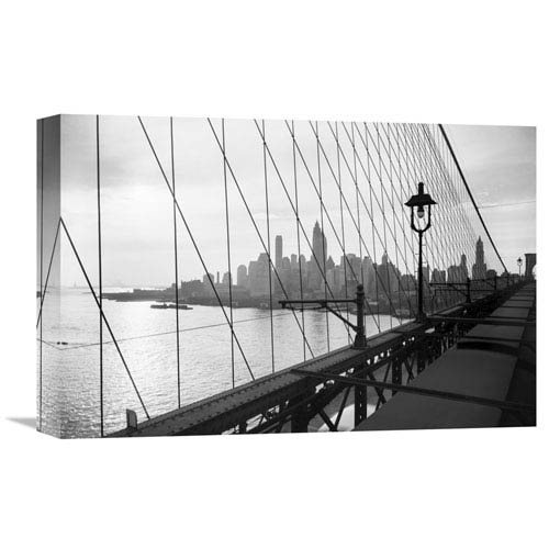 Global Gallery Manhattan Seen Through Cables Of Brooklyn Bridge, 1937 By Philip Gendreau, 18 X 12-Inch Wall Art