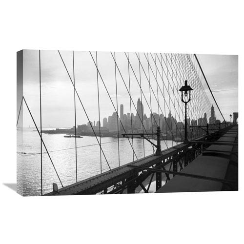 Global Gallery Manhattan Seen Through Cables Of Brooklyn Bridge, 1937 By Philip Gendreau, 30 X 20-Inch Wall Art