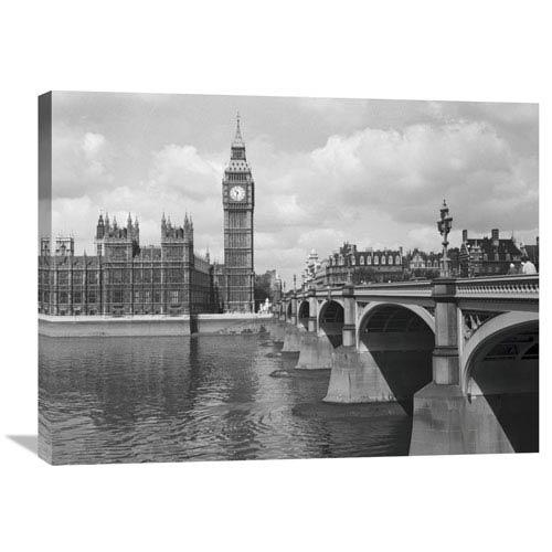 Global Gallery Westminster Bridge Showing Big Ben, 1959 By Philip Gendreau, 32 X 24-Inch Wall Art