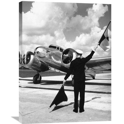 Global Gallery Worker Flagging In Airplane, 1940S By Philip Gendreau, 24 X 32-Inch Wall Art
