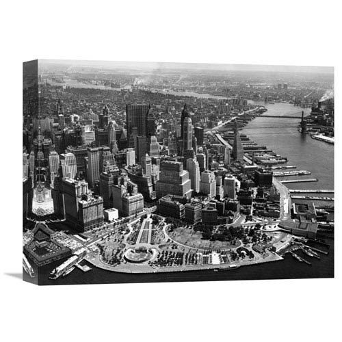 Global Gallery Aerial View Of Manhattan By Anonymous, 16 X 12-Inch Wall Art
