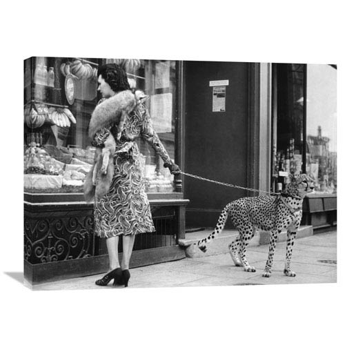 Global Gallery Elegant Woman With Cheetah By Anonymous, 32 X 24-Inch Wall Art