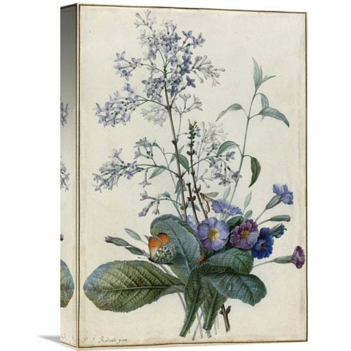 Global Gallery A Bouquet Of Flowers With Insects By Pierre Joseph Redoute, 12 X 18-Inch Wall Art