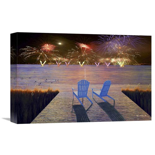 Global Gallery Fireworks Over Idle Hour By Diane Romanello, 18 X 12-Inch Wall Art