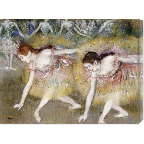 Global Gallery Dancers Bending Down by Edgar Degas: 30 x 22.62 Canvas Giclees, Wall Art