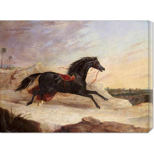 Global Gallery Arabs Chasing a Loose Arab Horse in an Eastern Landscape by John Frederick Herring: 30 x 22.68 Canvas Giclees,