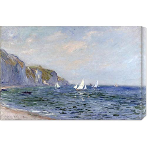 Global Gallery Cliffs and Sailboats at Pourville by Claude Monet: 30 x 19.8 Canvas Giclees, Wall Art