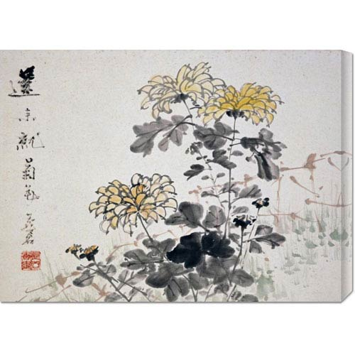 Global Gallery Chrysanthemums by Xu Gu: 30 x 22.14  Canvas Giclees, Wall Art