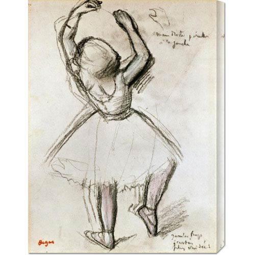 Global Gallery Backview of a Dancer by Edgar Degas: 22.4 x 30 Canvas Giclees, Wall Art