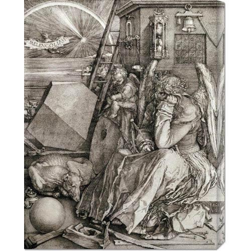 Global Gallery Melancholia by Albrecht Durer: 23.2 x 30 Canvas Giclees, Wall Art