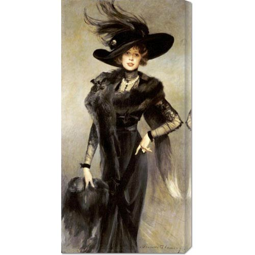 Global Gallery Fashionable Beauty by Francois Flameng: 17.6 x 36 Canvas Giclees, Wall Art