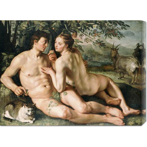 Global Gallery The Fall of Man by Hendrick Goltzius: 30 x 22.35 Canvas Giclees, Wall Art
