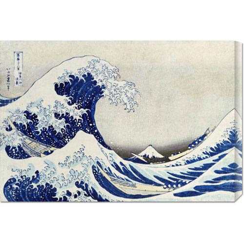 Global Gallery The Great Wave of Kanagawa by Hokusai: 30 x 20.55 Canvas Giclees, Wall Art