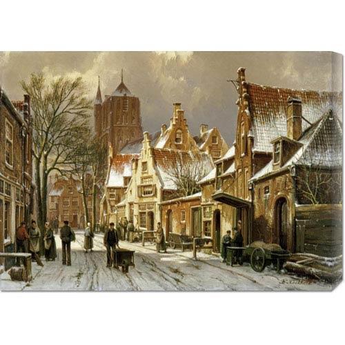 Global Gallery A Winter Street Scene by Willem Koekkoek: 30 x 21.63 Canvas Giclees, Wall Art