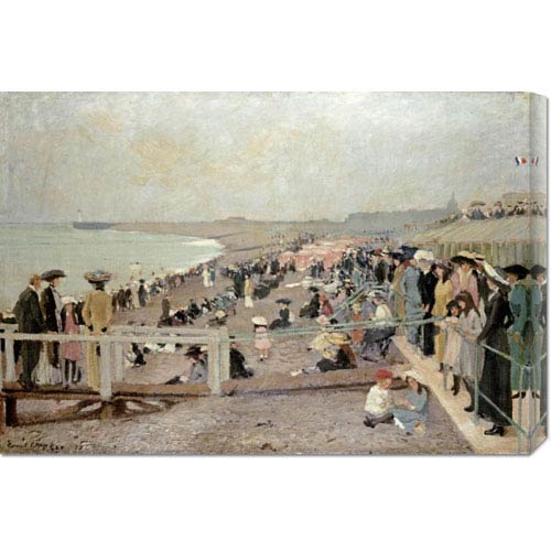 Global Gallery The Beach, Dieppe by Ernest Oppler: 30 x 20.49 Canvas Giclees, Wall Art
