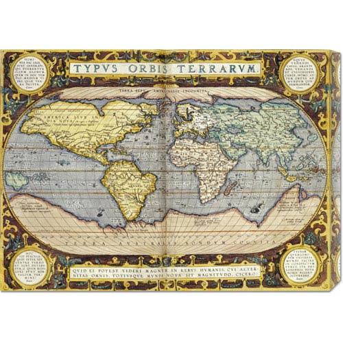 Global Gallery Theatrum Orbis Terrarum by Abraham Ortelius: 30 x 21.93 Canvas Giclees, Wall Art
