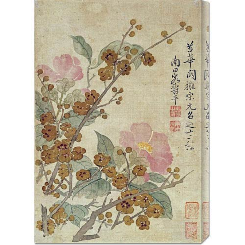 Global Gallery Plum Blossom and Camellias by Yun Shouping: 47 x 30 Canvas Giclees, Wall Art
