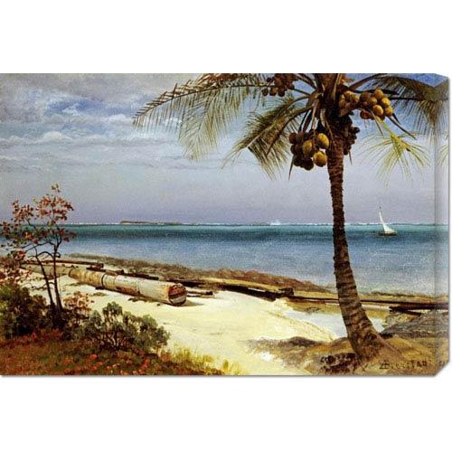 Global Gallery Tropical Coast by Albert Bierstadt: 30 x 20.88 Canvas Giclees, Wall Art