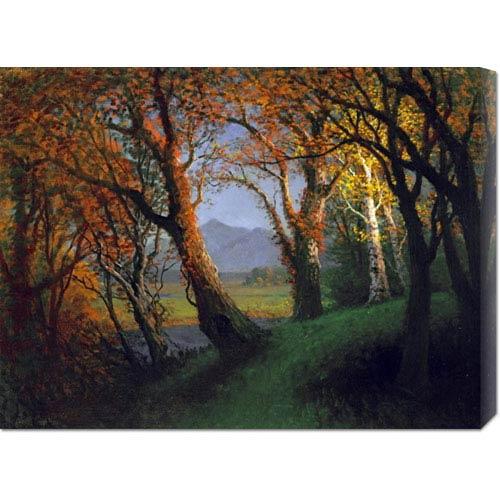 Global Gallery Sunset in the Nebraska Territory by Albert Bierstadt: 30 x 22.56 Canvas Giclees, Wall Art
