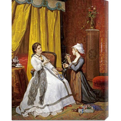 Global Gallery Flowers for the Lady by Auguste De Pinelli: 23.2 x 30 Canvas Giclees, Wall Art