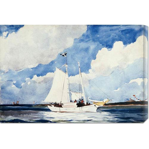 Global Gallery Fishing Schooner, Nassau by Winslow Homer: 30 x 20.55 Canvas Giclees, Wall Art