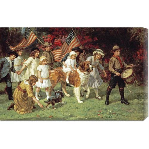 Global Gallery American Parade by George Sheridan Knowles: 30 x 19.5 Canvas Giclees, Wall Art