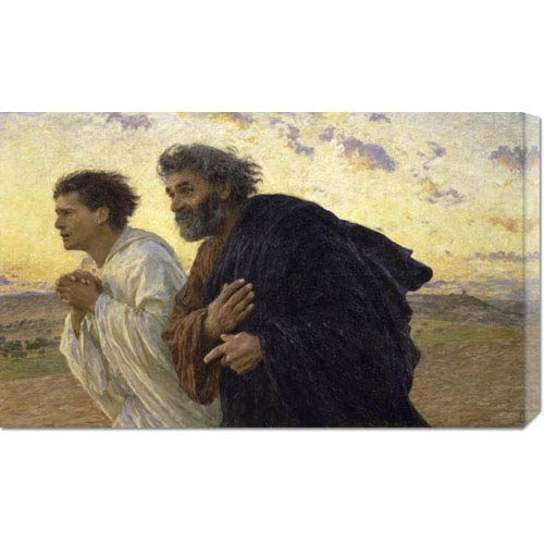 Global Gallery Disciples Peter and John Rushing To The Sepulcherthe Morning of The Resurrection by Eugene Burnand: 30 x 18.09
