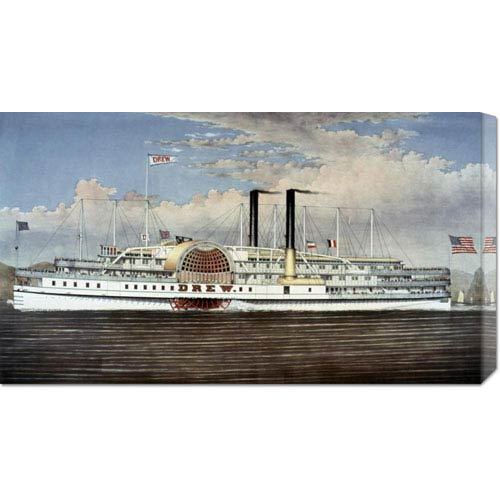 Global Gallery Hudson River, The Palace Steamers of The World by Currier and Ives: 30 x 16.92 Canvas Giclees, Wall Art
