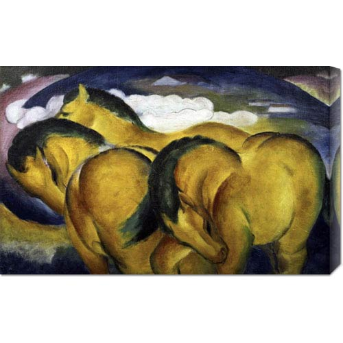 Global Gallery Little Yellow Horses by Franz Marc: 30 x 18.93 Canvas Giclees, Wall Art