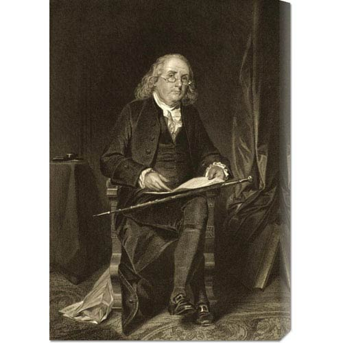 Global Gallery Benjamin Franklin, 1706-1790: 20.3  x 30 Canvas Giclees, Wall Art