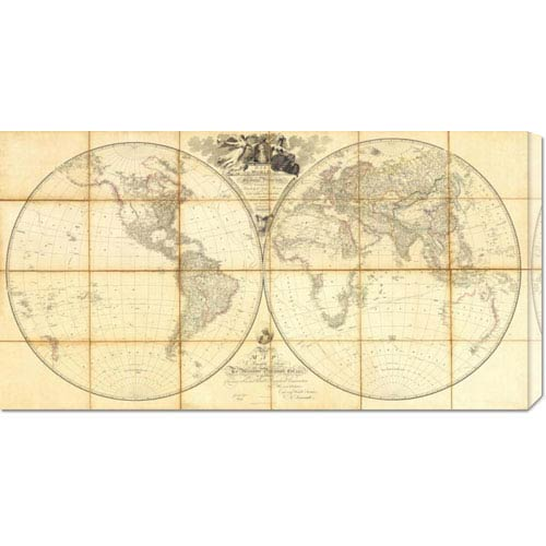 Global Gallery Map of the World, Researches of Capt. James Cook, 1808 by Aaron Arrowsmith: 36 x 19 Canvas Giclees, Wall Art