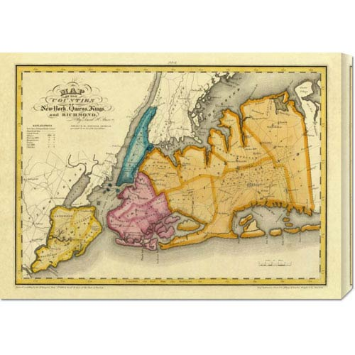 Global Gallery New York, Queens, Kings, Richmond Counties, 1829 by David H. Burr: 30 x 21.66 Canvas Giclees, Wall Art