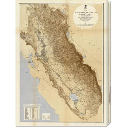 Global Gallery Map of the San Joaquin, Sacramento and Tulare Valleys, 1873: 21.7 x 30 Canvas Giclees, Wall Art