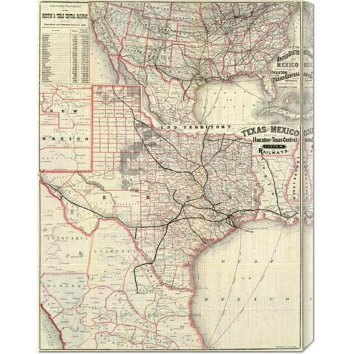Global Gallery Texas and Mexico, Houston and Texas Central Railways, 1885: 22.6 x 30 Canvas Giclees, Wall Art