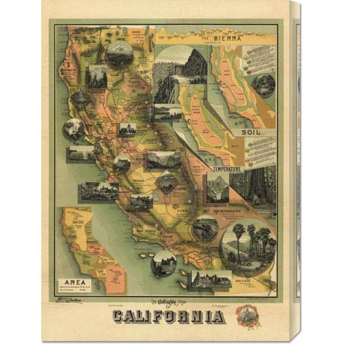 Global Gallery The Unique Map of California, 1885 by E. McD. Johnstone: 21.8 x 30 Canvas Giclees, Wall Art
