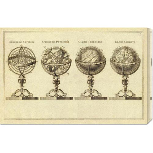 Global Gallery Spheres et Globes, 1791 by Jean Lattre: 30 x 19.65 Canvas Giclees, Wall Art