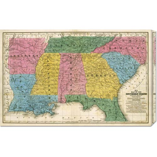 Global Gallery Map of the Southern States, 1839 by Samuel Augustus Mitchell: 30 x 19.17 Canvas Giclees, Wall Art