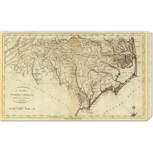 Global Gallery State of North Carolina, 1796 by John Reid: 30 x 18.27 Canvas Giclees, Wall Art
