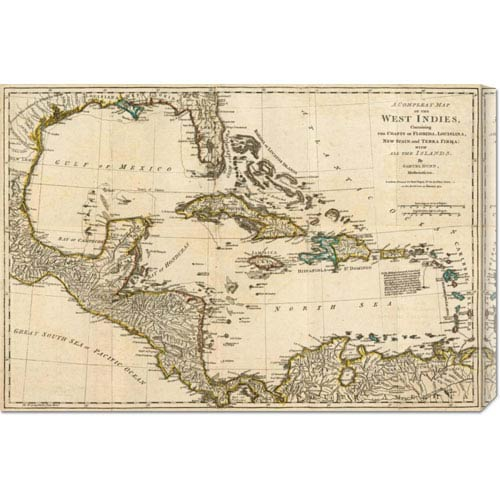 Global Gallery A Complete Map of the West Indies, 1776 by Robert Sayer: 30 x 20.4 Canvas Giclees, Wall Art