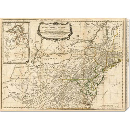 Global Gallery A General Map of the Middle British Colonies, in America, 1776 by Robert Sayer: 30 x 22.35 Canvas Giclees,