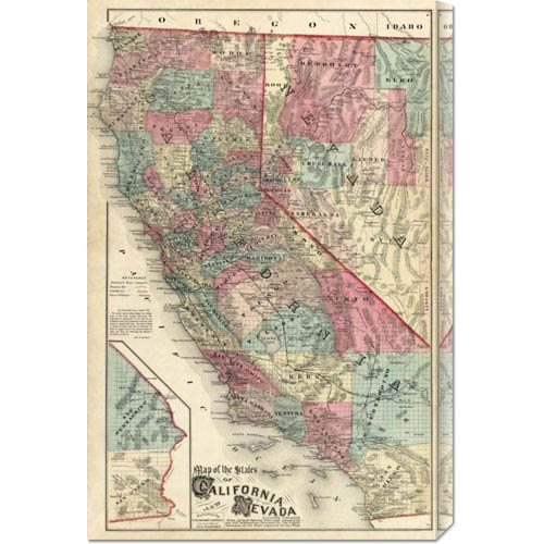 Global Gallery Map of the States of California and Nevada, 1877 by Thos. H. Thompson: 19.4 x 30 Canvas Giclees, Wall Art