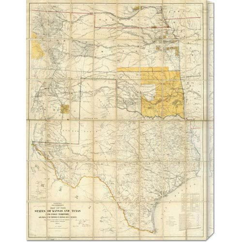 Global Gallery Map of The States of Kansas and Texas and Indian Territory, 1867: 22.5 x 30 Canvas Giclees, Wall Art